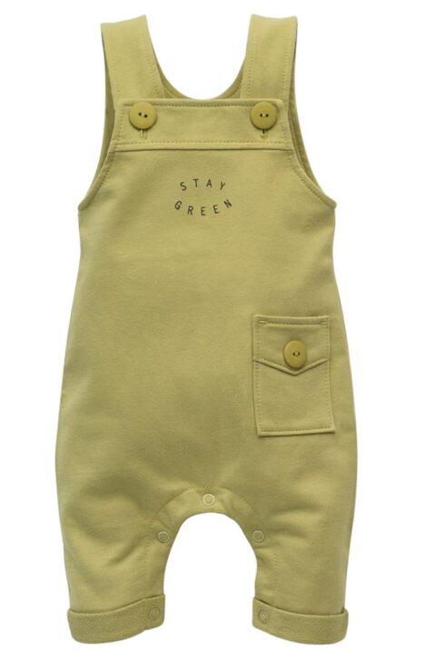 Grüne Baby Latzhose mit Tasche, Beinumschlag, Bündchen & STAY GREEN Print für Jungen & Mädchen - Langer Kinder Einteiler Trägerhose Babyhose von Pinokio - Vorderansicht