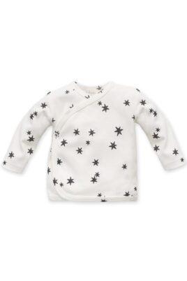 Pinokio weißes Baby Wickelshirt langarm mit Sterne Muster für Jungen & Mädchen – Gemustertes Kinder Wickelhemd Wickeljacke Flügelhemd Oberteil – Vorderansicht