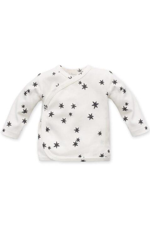 Weißes Baby Wickelshirt langarm mit Sterne Muster für Jungen & Mädchen - Gemustertes Kinder Wickelhemd Wickeljacke Flügelhemd Oberteil von Pinokio - Vorderansicht