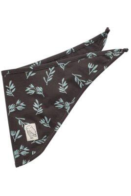 Pinokio braunes Baby Halstuch Dreieckstuch mit Eule Uhu Kauz Patch & grüne Blätter Muster für Jungen & Mädchen – Gemustertes saugstarkes Basic Sabbertuch für Kinder – Vorderansicht