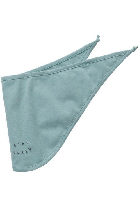 Grünes türkises Baby Dreieckstuch Halstuch mit STAY GREEN Print für Jungen & Mädchen - Unifarben saugstarkes Kinder Basic Sabbertuch von Pinokio - Vorderansicht