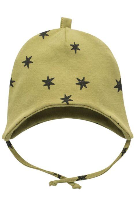 Grüne Kinder Baby Mütze mit Ohrenklappen, Bindeband & Sterne Muster für Jungen & Mädchen - Limette Lindgrün Kindermütze Kappe Babymütze von Pinokio - Vorderansicht