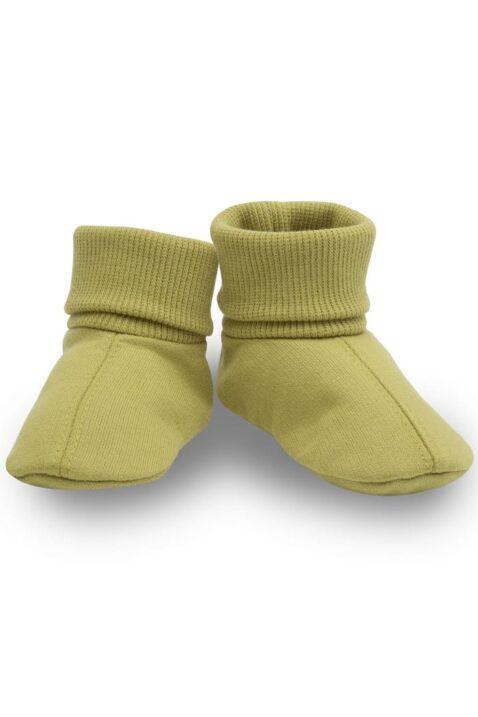 Grüne Babyschuhe Baby Schlupfschuhe Hausschuhe mit Umschlag Bündchen für Jungen & Mädchen - Limettengrüne Kinder Krabbelschuhe von Pinokio - Vorderansicht
