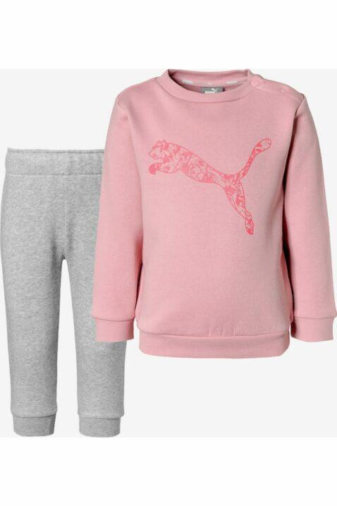 Baby Kinder Jogginganzug Jogginghose Pullover Set Minicats mit Pumalogo in Grau Rosa - Rundhals Print Trainingsanzug von Puma - Vorderansicht Set