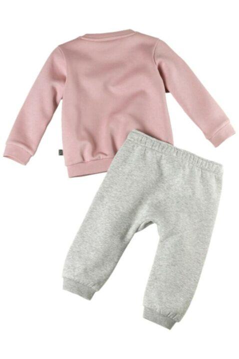 Kinder Baby Set Trainingsanzug Jogginganzug mit grauer Jogginghose & rosa Oberteil Pullover mit PUMA Brandingg Hausanzug Freizeitanzug von PUMA - Rückenansicht
