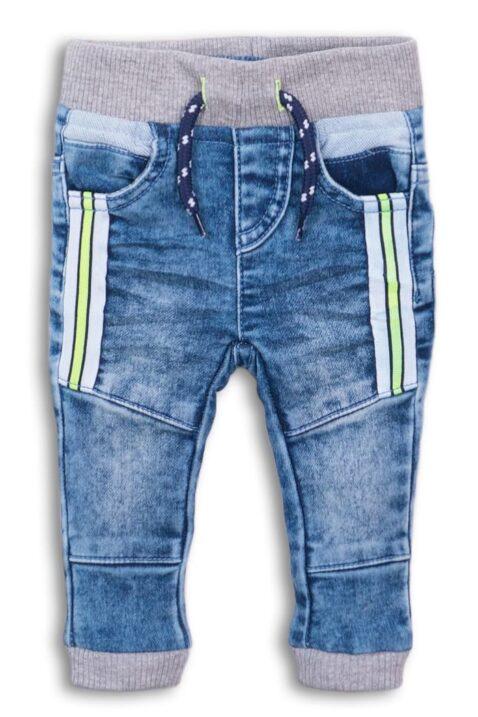 Blaue Babyjeans mit Streifen & Taschen für Jungen - Elastische Baumwoll-Mix babyhose Jungenhose von Dirkje - Vorderansicht
