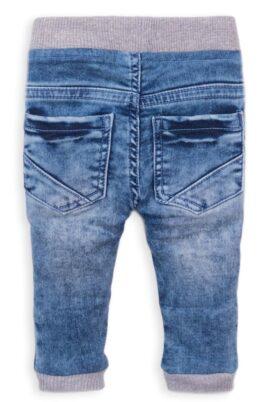Blaue denim washed elastische Babyjeans mit Taschen, Streifen & Gesäßtaschen für Jungen - Babyhose von Dirkje - Rückenansicht