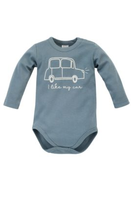 Pinokio blau grüner Baby Body langarm mit Auto Retro Vintage & Print für Jungen – Kinder Babybody Langarmbody Baumwollbody – Vorderansicht
