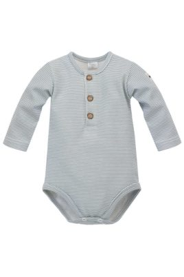 Pinokio blau gestreifter Baby Body langarm Polo ohne Kragen, Knöpfe & Auto Patch für Jungen – Kinder Polobody Langarmbody aus Baumwolle – Vorderansicht