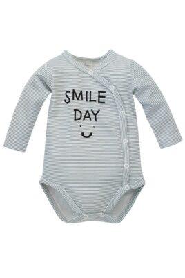 Pinokio Baby blau weiss gestreifter Baumwolle Wickelbody langarm mit SMILE DAY Print für Jungen & Mädchen – Streifen Langarmbody Body mit langen Ärmeln – Vorderansicht