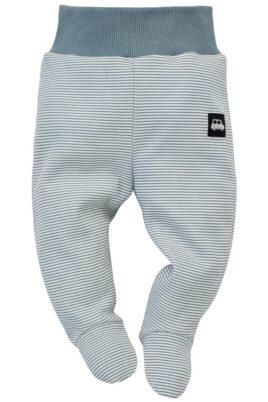 Pinokio Baby blau weiß gestreifter Baby Halb-Strampler Strampelhose mit Fuß, Komfortbund & Car Auto Patch für Jungen – Streifen Schlafhose – Vorderansicht