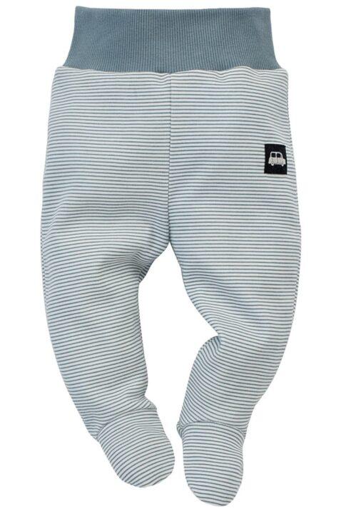 Baby blau weiß gestreifter Baby Halb-Strampler Strampelhose mit Fuß, Komfortbund & Car Auto Patch für Jungen - Streifen Schlafhose von Pinokio - Vorderansicht