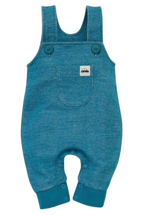 Blau türkise Baby Latzhose mit Tasche, Bündchen & Auto Car Patch aus 100% Baumwolle für Jungen - Langer Kinder Einteiler Trägerhose Babyhose von Pinokio - Vorderansicht