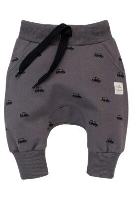 Pinokio graue Baby Kinder Pumphose Haremshose mit Taschen, Autos Car Patch Muster für Jungen – Babyhose Sweathose Pants Jogger – Vorderansicht