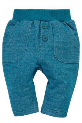 Pinokio türkis blaue Babyhose mit Taschen & Knöpfe aus Baummwolle Little Car für Jungen & Mächen – Hochwertige süße unifarben Schlupfhose mit Komfortbund – Vorderansicht