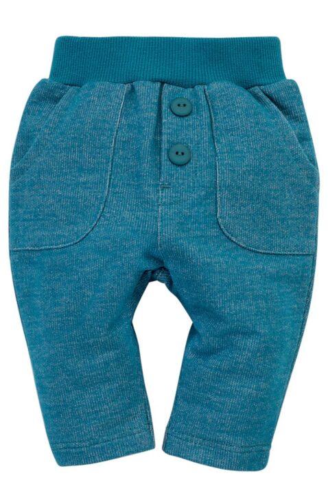 Türkis blaue Babyhose mit Taschen & Knöpfe aus baummwolle Little Car für Jungen & Mächen - Hochwertige süße unifarben Schlupfhose mit Komfortbund von Pinokio - Vorderansicht