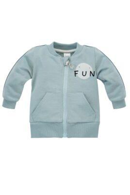 Pinokio Mint grüne Baby Kinder Sweatjacke mit Streifen, Taschen, Reißverschluss & FUN Print für Jungen & Mädchen – Hellblau Oberteil Pullover Sweatshirt – Vorderansicht