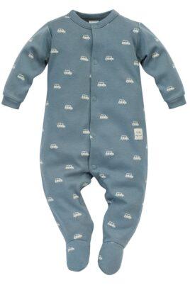 Pinokio blau grüner Baby langarm Schlafoverall mit Füßen, Autos Muster & Patch I LIKE MY CAR – Vorderansicht