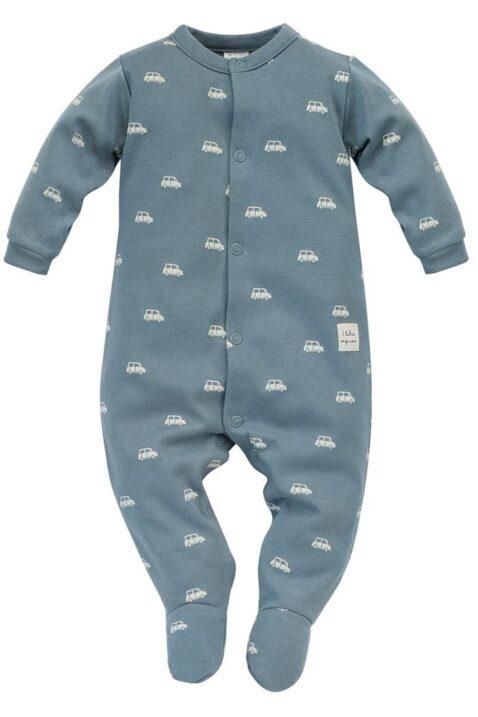 Blau grüner Baby langarm Schlafoverall mit Füßen, Autos Muster & Patch I LIKE MY CAR von Pinokio - Vorderansicht