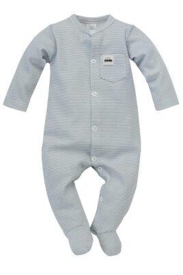Pinokio blau-weiß gestreifter Baby Langarm Schlafoverall mit Füßen & Auto Patch für Jungen – Kinder Schlafstrampler mit Fuß – Vorderansicht