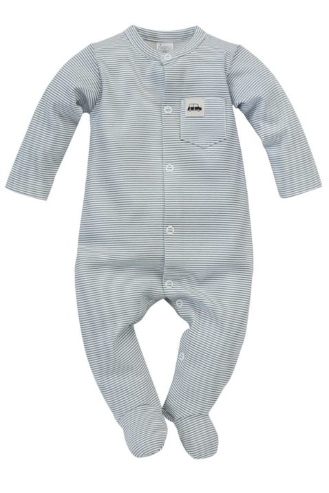Blau-weiß gestreifter Baby Langarm Schlafoverall mit Füßen & Auto Patch für Jungen - Kinder Schlafstrampler mit Fuß von Pinokio - Vorderansicht