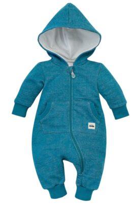 Pinokio türkis blauer Babyoverall mit großer Kapuze, Kängurutasche, Reißverschluss & Auto Patch für Kinder – Strampler ohne Fuß – Vorderansicht