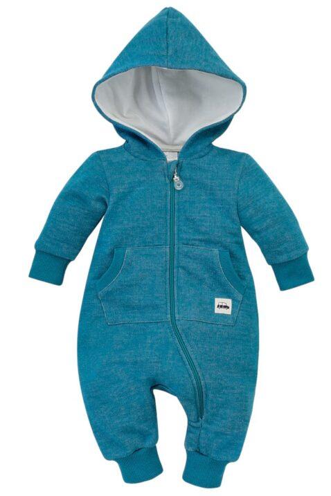 Türkis blauer Babyoverall mit großer Kapuze, Kängurutasche, Reißverschluss & Auto Patch für Kinder - Strampler ohne Fuß von Pinokio - Vorderansicht