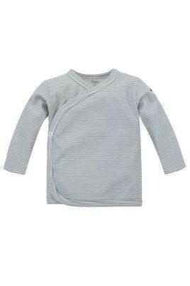 Pinokio blau-weiß gestreiftes Baby Wickelshirt langarm mit Auto Patch für Jungen & Mädchen – Streifen Kinder Wickeljacke Wickelhemd Flügelhemd Oberteil – Vorderansicht