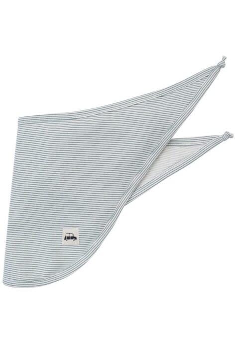 Blau-weiß gestreiftes Baby Dreieckstuch Halstuch mit Auto Patch für Jungen - Streifen saugstarkes Kinder Basic Sabbertuch von Pinokio - Vorderansicht