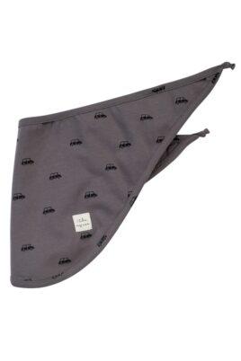 Pinokio dunkelgraues Baby Dreieckstuch Halstuch mit Auto Muster & I LIKE MY CAR Patch für Jungen – Saugstarkes Basic Kinder Vintage Sabbertuch – Vorderansicht