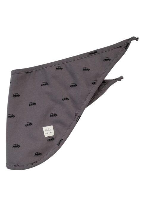 Dunkelgraues Baby Dreieckstuch Halstuch mit Auto Muster & I LIKE MY CAR Patch für Jungen - Saugstarkes Basic Kinder Vintage Sabbertuch von Pinokio - Vorderansicht