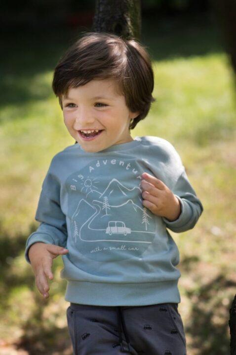 Junge trägt graue Baby Kinder Pumphose Haremshose mit Autos - Blaues Sweatshirt Oberteil langarm mit Adventure Print, Berge, Wald von Pinokio - Babyphoto Kinderphoto