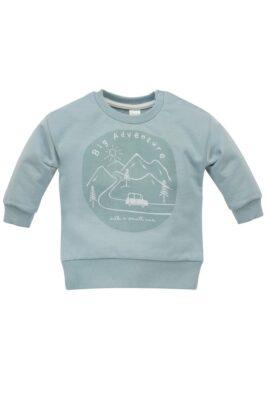 Pinokio Mint grünes Baby Rundhals Sweatshirt Oberteil mit Berge, Bäume, Autos für Jungen – Langarm Babypullover blau aus 100% Baummwolle – Vorderansicht
