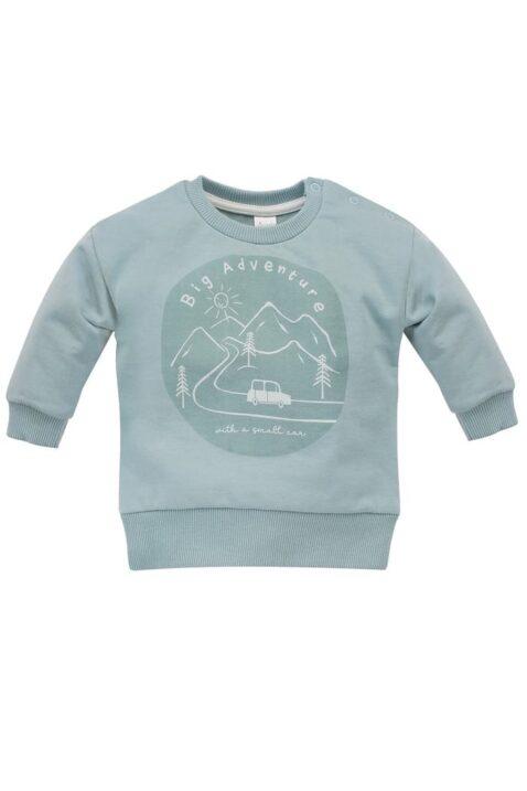 Mint grünes Baby Rundhals Sweatshirt Oberteil mit Berge, Bäume, Autos für Jungen - Langarm Babypullover blau aus 100% Baummwolle von Pinokio - Vorderansicht