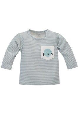 Pinokio blau weiß gestreiftes Baby Langarmshirt mit Tasche & FUN Print für Jungen – Rundhals Kinder Oberteil – Vorderansicht