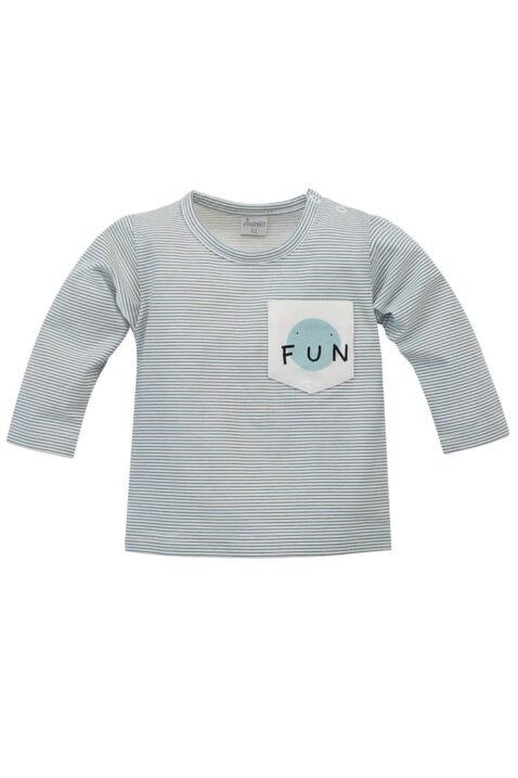 Blau weiß gestreiftes Baby Langarmshirt mit Tasche & FUN Print für Jungen - Rundhals Kinder Oberteil von Pinokio - Vorderansicht