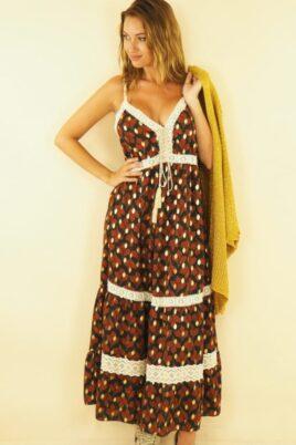 Maxikleid mit Vintage-Muster und aufgenähten Spitzenelementen im Boho-Style, Sommerkleid, braun - Vorderansicht