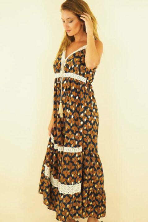 Maxikleid mit Vintage-Muster und aufgenähten Spitzenelementen im Boho-Style, Sommerkleid, beige - Seitenansicht