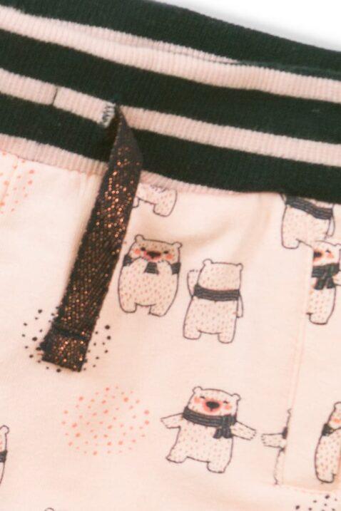 Rosa Leggings mit Taschen und Bärenprint, gestreifter Komfortbund, Sweathose für Mädchen – Detailansicht