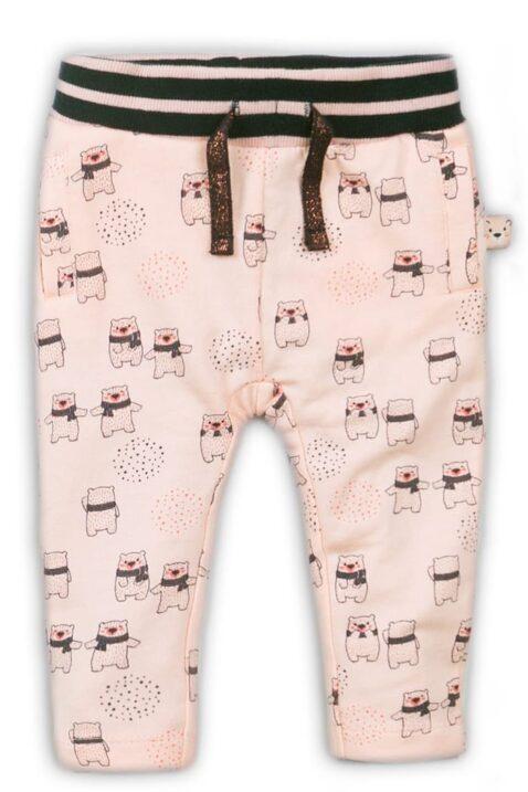 Sweathose mit Taschen und Bärenprint, gestreifter Komfortbund, Leggings von Dirkje, rosa – Vorderansicht