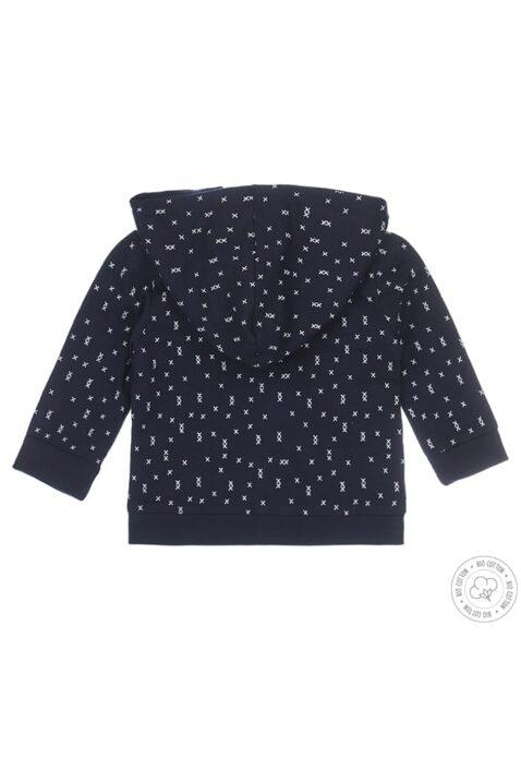 Baby Wendejacke mit Kapuze & Druckköpfen aus Bio-Baumwoll-Mix mit Kreuzprint für Jungen in blau von Dirkje - Rückansicht