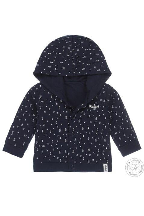 Baby Wendejacke Sweatjacke mit Kapuze & Kreuz-Muster für Jungen in dunkelblau - Babyjacke von Dirkje OEKO-TEX– Vorderansicht