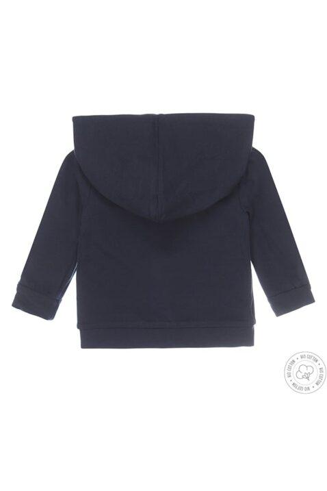 Baby Kapuzenjacke Sweatjacke von Dirkje mit Druckknöpfen - wendbar in dunkelblau mit Kreuz-Muster von Dirkje - Rückansicht