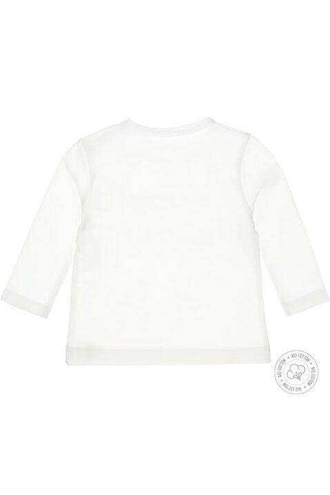 Langarm Babyshirt mit Druckknöpfen & Trouble Maker Print aus Baumwollmix in weiß in Bio Baumwolle von Dirkje - Rückansicht