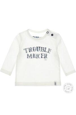 Dirkje Leichtes Baby Sweatshirt mit Trouble Maker Print & Druckknöpfen in weiß für Jungen & Mädchen – Vorderansicht
