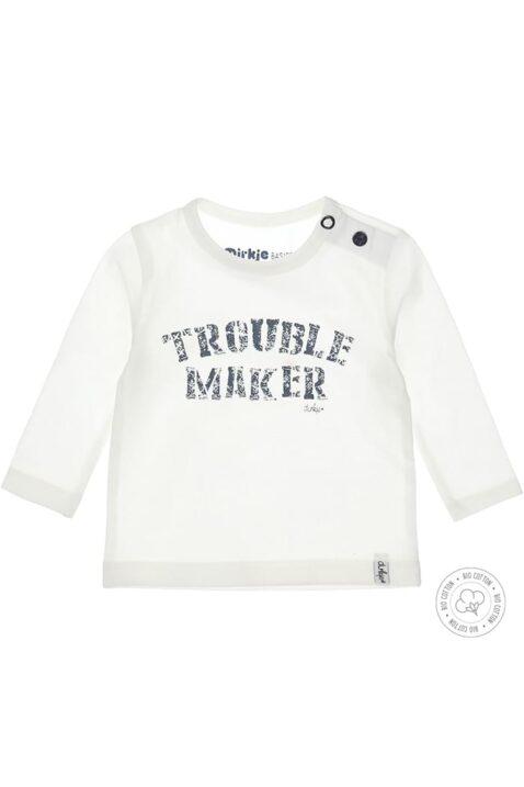 Weißes Baby Langarmshirt Oberteil aus hochwertiger Bio-Baumwolle mit Trouble-Maker Aufdruck von Dirkje - Vorderansicht