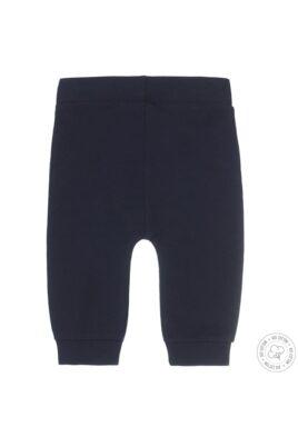 Baby Sweathose mit Dirkje Marken-Patch & Zierkordel aus hochwertiger Bio-Baumwolle in dunkelblau - Rückansicht