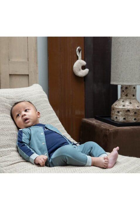 Babyset Kinderanzug mit blauem Langarmshirt mit just be cool Aufdruck - hochwertig aus Bio-Baumwolle von Dirkje - Babyphoto