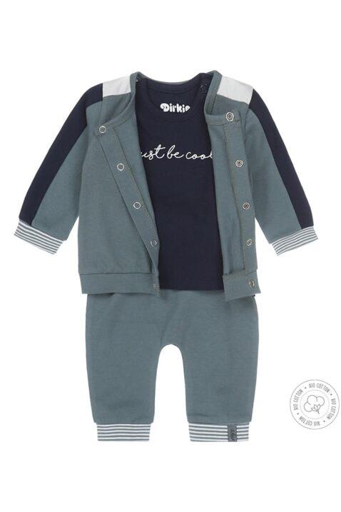 DIRKJE Dreiteiliges Babyset Sweatanzug in grün & blau mit Baby-Langarmshirt mit Print - hochwertig aus Bio-Baumwolle - Vorderansicht