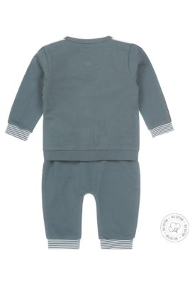 Dreiteiliger Babyanzug mit Jogginghose, Sweatjacke, Rundhalsshirt aus Bio-Baumwolle in navy dusty green grün für Jungen voN Dirkje - Rückansicht